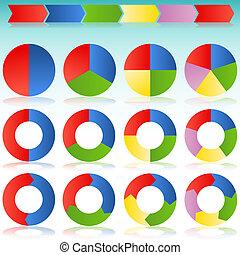 coloré, processus, diapo, flèche, rond, icône