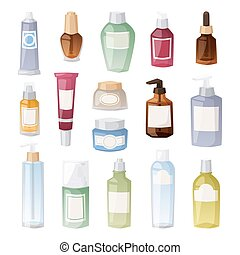 coloré, produits de beauté, détaillé, paquet, icons., vide, boîte, hautement, plat