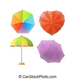 coloré, protection soleil, rayons, rayé, parapluies