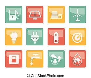 coloré, puissance, icônes, écologie, énergie, fond, sur