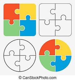 coloré, puzzle, morceaux denteux, quatre, vecteur