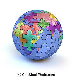 coloré, puzzle, -, terre planète, plongeon