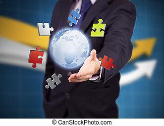 coloré, puzzles, homme affaires