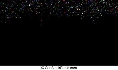 coloré, réaliste, confetti, alpha, tomber, canal