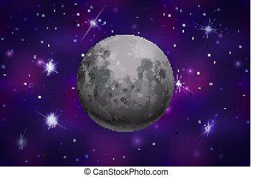 coloré, réaliste, fond, lune, profond, espace, étoiles, clair