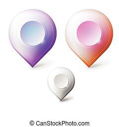coloré, réaliste, vecteur, icônes, pour, marqueurs, geolocation