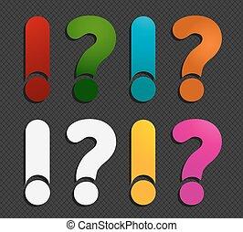 coloré, réponse, points interrogation