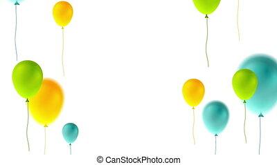 coloré, résumé, anniversaire, vidéo, ballons, animation, heureux