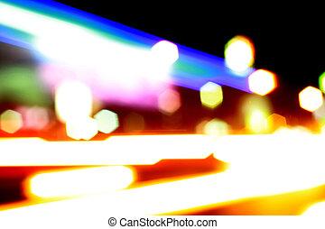 coloré, résumé, bokeh, rue, fond, nuit