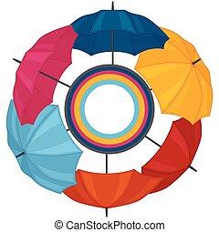 coloré, résumé, carte voeux, fond, parapluies