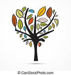 coloré, résumé, forme coeur, arbre, blanc, fond