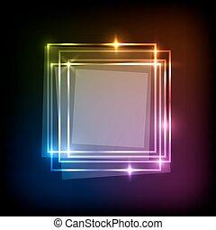 coloré, résumé, néon, fond, carrés, bannière