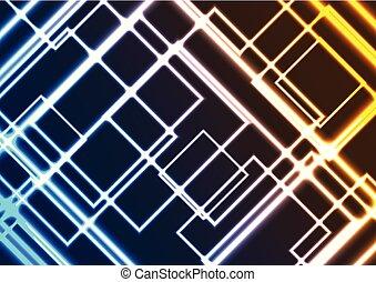 coloré, résumé, néon, incandescent, fond, carrés