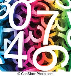coloré, résumé, numbers., vecteur, fond, numérique