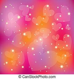 coloré, résumé, rue, fond, valentin, cœurs, étoiles, lumière