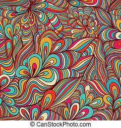 coloré, résumé, seamless, modèle, hand-drawn, fond, vagues