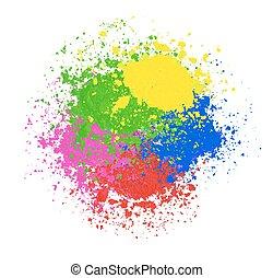 coloré, résumé, splashes., arrière-plan., clair, vecteur, poudre, holi, bannière, texture., heureux
