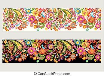 coloré, résumé, summery, seamless, floral, fleurs, frontière