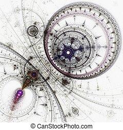 coloré, résumé, typon, rouage horloge, engrenages,...
