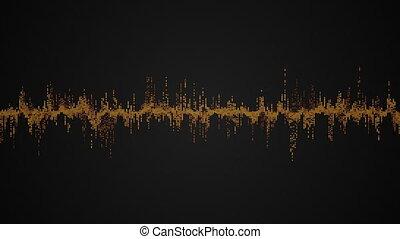 coloré, résumé, vague, arrière-plan noir, audio