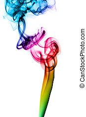 coloré, résumé, vapeur, tourbillons, blanc