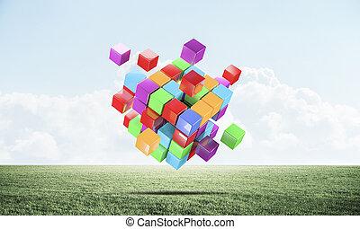 coloré, résumé vert, cubes, pré