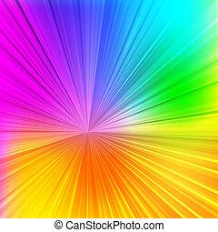 coloré, rayons, conception abstraite, fond, ton