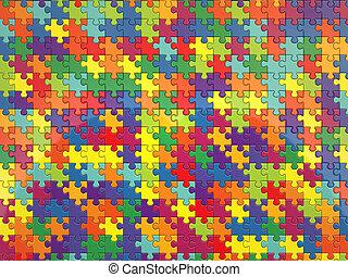 coloré, render, puzzle, fond, 3d