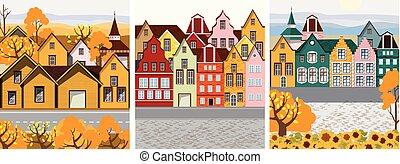 coloré, retro, bâtiments, ville, vieux, meute