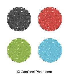 coloré, rond, timbres, collection, vecteur, grunge