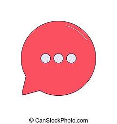 coloré, rouges, parole, icône, conception, bulle