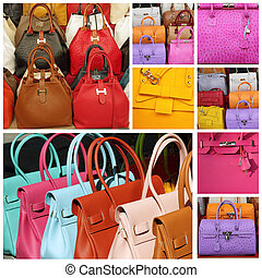 coloré, sacs main, collection, cuir