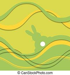 coloré, saison, -, carte voeux, lapin, vue postérieure