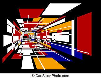 coloré, salle, perspective