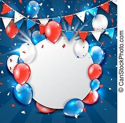 coloré, salutation, fetes, bruant, américain, confetti, ballons, carte