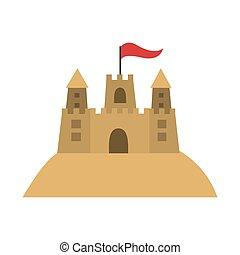 coloré, sandcastle, icône, à, drapeau