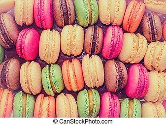 coloré, savoureux, macarons, rang