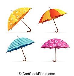 coloré, set., réaliste, vecteur, ouvert, parapluies