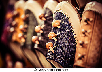 coloré, shelf., chaussure, marocain, pantoufles, babouche