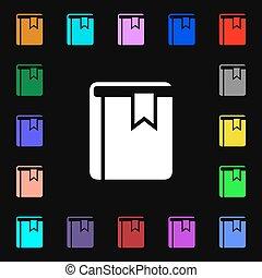 coloré, signet, signe., ton, symboles, lotissements, vecteur, icône, livre, design.