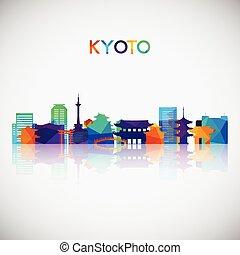 coloré, silhouette, kyoto, géométrique, style., horizon