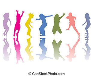 coloré, silhouettes