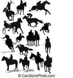 coloré, silhouettes., courses chevaux