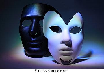 coloré, simple, masque, mis valeur, masque, noir, sérieux, blanc