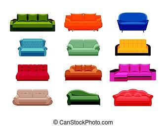 coloré, sofa, set., collection, maison, icône, intérieurs, meubles
