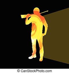 coloré, sport, illustration, fond, tir, homme, chasse, concept, silhouette