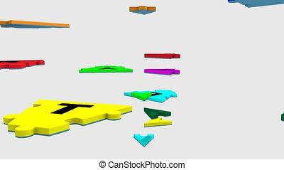 coloré, stratégie, tourner, puzzle