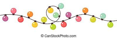 coloré, string., lumières, noël