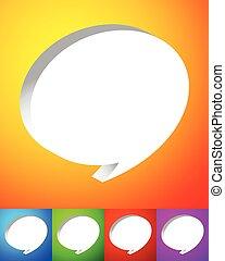 coloré, sur, arrière-plans, vibrant, parole, bulles, ou, parler, 3d
