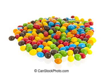 coloré, sur, isolé, bonbon, fond, blanc